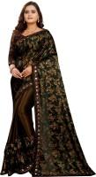 PMD Fashion Floral Print Fashion Lycra Blend Saree(Brown)