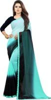 fashion Day Self Design Bollywood Georgette Saree(Dark Blue, Light Blue)