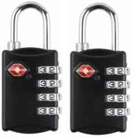 Techtest (Set of 2) Luggage Travel Suitcase Bag Lock, 4 Digit Combination Padlock, Luggage Locks, Combination Lock, Number Lock for Bags, Password Lock Bag, Small Lock, Small Lock for Bags Safety Lock(Black)