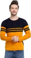 UZEE Striped Men Round Neck Black, Yellow T-Shirt