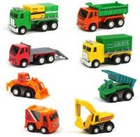 ALLAMWAR 8pcs Construction Automobiles Toy Set Mini Cars Vehicles Pull Back Push Friction Construction Trucks Toys(Multicolor)