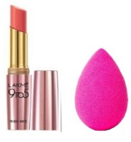 Lakme 9 to 5 Primer Plus Matte Lip Color (Blush Book, 3.6 g) with Beauty Blender