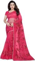 Monrav Embroidered Fashion Net Saree(Pink)