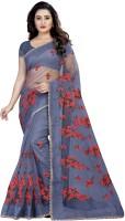 Monrav Embroidered Fashion Net Saree(Grey)