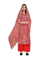 True beauty will come out of your dressing design with this opulent dark red colored cotton dress material. This party wear suit is beautifully adorned with beautiful prints, comes along with unstitched cotton bottom and printed chiffon dupatta which makes it appear more adorning. It's a perfect out
