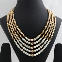 Silver shine Exclusive Traditional Designer Royal White and Golden Pearl with Moti Jewellery for Groom Mala for Sherwani Men's Jewellery