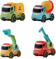 ALLAMWAR Construction Toy Cartoon Vehicle Set 4 pcs - Dumper + JCB Toys for Boys+ Cement Mixer + Crane Truck - Unbreakable ABS Plastic Friction Powered Kids Automobile Toy Car for Kids Set(Multicolor, Pack of: 4)