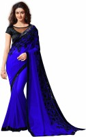 RadadiyaTRD Embroidered Fashion Poly Georgette Saree(Blue)