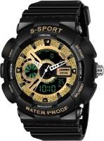 Piaoma BS9094-5 Analogue-Digital Full Black Sports Fully Waterproof Digital Watch  - For Men