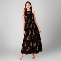 Daevish Women A-line Black Dress