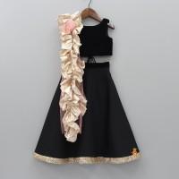 Bolly Lounge Girls Lehenga Choli Ethnic Wear Solid Lehenga| Choli and Dupatta Set Black| Pack of 1