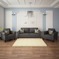 Flipkart Perfect Homes Juliet Fabric 3 + 1 + 1 Grey Sofa Set