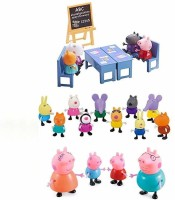 iDream Kid's PVC Peppa Pig Family & Friends with Classroom Setup(Multicolor)