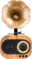 Walrus Gramophone Bluetooth Speaker With 3-6 Hour Playing Time, Built-In Mic, Handsfree Call, Aux Line, Usb Flash Drive, Micro Sd Card, Hd Stereo Sound And Bass 6 W Bluetooth Laptop/Desktop Speaker(Brown, Mono Channel)