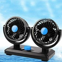 Car Fan 12V Electric Auto Dashboard Cooler Air Con Dual Head for Sedan Vehicle Truck RV SUV