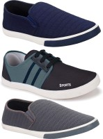 World Wear Footwear Multicolor Combo Pack of 3 Latest Collection Stylish Casual Loafer Sneakers Shoes For Men
