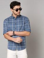 Dennis Lingo Men Checkered Casual Blue Shirt