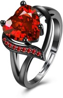 Jewels Galaxy Stylish Red Alloy Crystal Black Silver Plated Ring