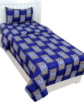 KTB Exports 144 TC Cotton Single Abstract Bedsheet(Pack of 1, White)