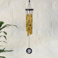 Ryme Vastu / Feng Shui Om Wind Chimes Metal Rods / Pipes for Home Decorative Showpiece  -  42.5 cm(Brass, Gold)