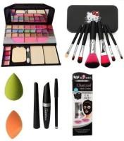 Aaxyone Makeup Kit TYA &MAC 3in1 & Kitty Brush Set & Charcoal Blackhead Mask & 2 Puff Sponges(8 Items in the set)