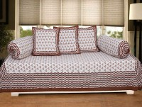 Texstylers 100% Cotton Printed Dewan Set(1 Single Bed Sheet, 2 Bolster Cover, 3 Cushion Covers)