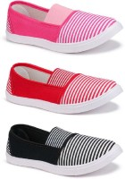 World Wear Footwear Combo Pack of 3 Stylish Casual Shoes For Women