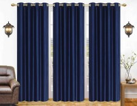 La Roze Home Furnishings 274.32 cm (9 ft) Polyester Long Door Curtain (Pack Of 3)(Plain, Blue)