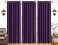 La Roze Home Furnishings 213.36 cm (7 ft) Polyester Door Curtain (Pack Of 3)(Plain, Purple)