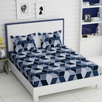 IWS 144 TC Microfiber Double 3D Printed Bedsheet(Pack of 1, Blue)