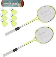 Sunlight Badminton Racket Dubble Rod Set Of 2 Piece With 6 Piece Nylon Shuttle Badminton Kit