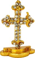 LE Exotica Holy Christian Cross or Latin Cross of God Jesus, Religious Symbol of Christianity cladded by Golden Electroplating to worship & Gain Prosperity Ideal for Home, Office or Car Dashboard Decorative Showpiece  -  3.5 cm(Metal, Gold)