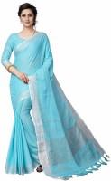 RadadiyaTRD Self Design, Solid Bollywood Cotton Jute Blend, Cotton Linen Blend Saree(Light Blue)
