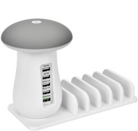 House Of Sensation Mushroom LED Desk Lamp with Fast Charging Station Organizer 3.0 5 Ports USB Hub(White)