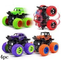 SaleON 4pc 4WD Mini Monster Trucks Friction Powered Cars for Kids Big Rubber Tires Baby Boys Super Cars Blaze Truck Children Gift Toys Mini Rock Crawler (Set of 4)(Multicolr, Pack of: 4)