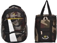 Good Friends Army School backpack & Lunch bag combo offer Waterproof Lunch Bag(Multicolor, 19 inch)