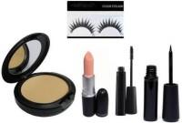 Blushinsta combo set of eyeliner, mascara, compact, lipstick, eyelashes (5 Items in the set)(5 Items in the set)
