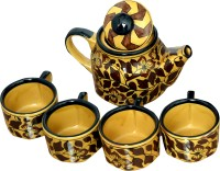 Bobby Designs Pack of 5 Ceramic Bobby Designs Ceramic Handmade Mughal Art Dark Golden Tea Set(Gold)