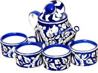 Bobby Designs Pack of 5 Ceramic Crocktree Ceramic Blue Tea Set Kettle Set of 5 Kettle Set with Cup Coffee Mug(Blue)