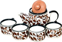 Bobby Designs Pack of 5 Ceramic Ceramic Tea Set, Brown Tea Set with Kettle, Kettle Set, Tea Cup with Kettle(Brown)
