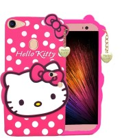 Trendzmy 3D Cute Hello Kitty Silicone with Pendant Back Case Cover for Vivo V7 Plus