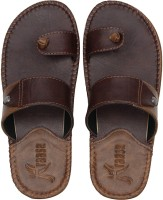 Kraasa Men Synthetic Leather Chappal (Brown) Flip Flops