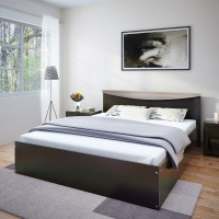 Flipkart Perfect Homes Carol Engineered Wood Queen Bed(Finish Color -  Melamine Wenge)
