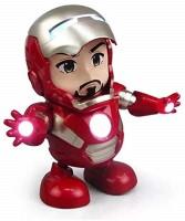 TUKAMCHA Action Figures Avengers Iron Man Dancing Robot with Music Flashlight Figures (Red)