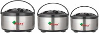 krona Stainless Steel Insulated Casserole Storage for Serving Hot Meal Food for Bread Like Roti Dal Vegetables,with Plastic Cover Lid and Steel Bottom for Serving Lunch/Dinner-Combo Set of 3 Pack of 3 Serve Casserole Set(1000 ml, 1500 ml, 2000 ml)
