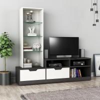 Flipkart Perfect Homes Icon Engineered Wood TV Entertainment Unit(Finish Color - Melamine Wenge + White)