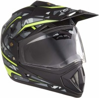 VEGA Off Road DV Camo Dull Black NEON Motorbike Helmet(Dull Black, NEON YELLOW)