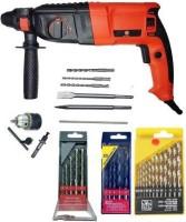 tools master POWER FULL 900W 26MM HAMMER DRILL MACHINE HEAVY DUTY HAMMER WITH 13PC HSS 5PC MASONRY WOOD BITS Pistol Grip Drill (26 mm Chuck Size) Power & Hand Tool Kit(5 Tools)