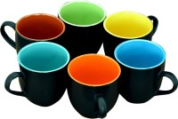 Bobby Designs Pack of 6 Ceramic Ceramic Black and Multicolor Tea Set, Tea Cup Set of 6, Coffee Set with Cup, Milk Mug Set(Black, Multicolor)