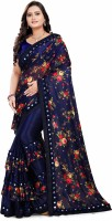 vivila fashion Embroidered Fashion Lycra Blend Saree(Blue)